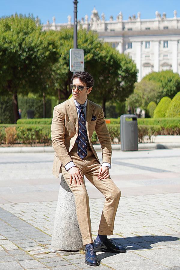 beige suit style