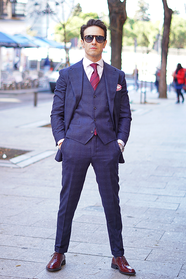 blue three piece suit style