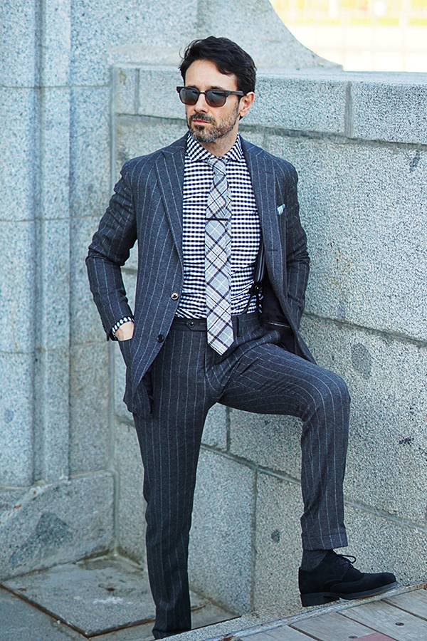 grey striped suit for man
