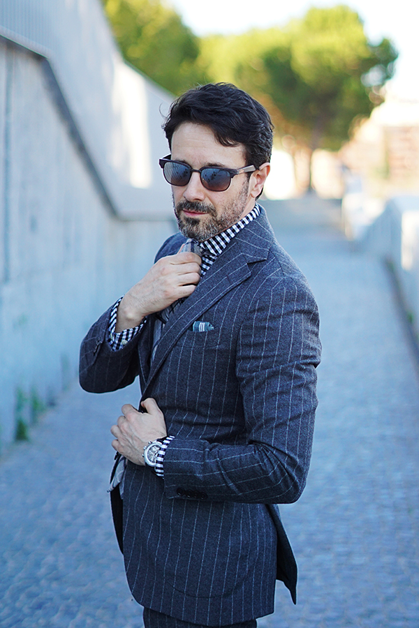 grey striped suit for men