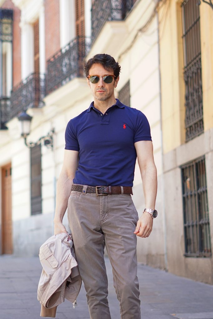 blue polo shirt outfit