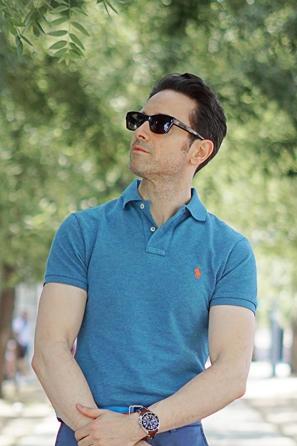 blue polo shirt men