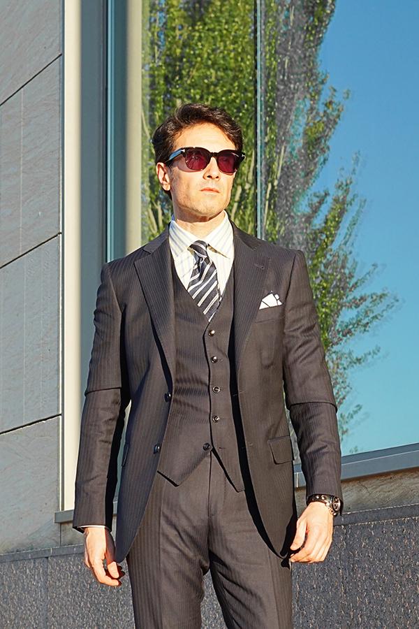 blue three piece suit men